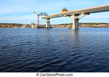 bridge over teh bay of Sundsvall - bridge construction...