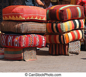 cushions on the open market in Marakesh Morocco