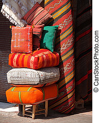 color cushions - cushions on the open market in Marakesh...