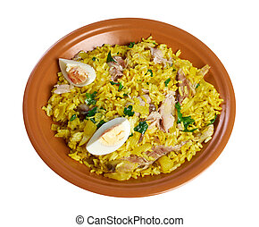 Scottish dish - Kedgeree, flakes of smoked herring baked...