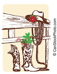 Christmas cowboy elements for holiday.