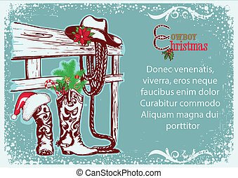Cowboy Christmas poster for text.Vector winter illustration...
