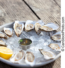 raw oysters - raw fresh oysters opened and served on a plate...