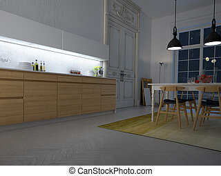 kitchen by night, 3d rendering