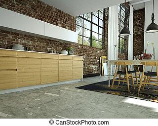 kitchen - modern kitchen in a loft, 3d rendering