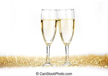 dos, champaña, Flautas