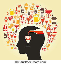 Alcohol a head - Alcohol choice in a head A vector...