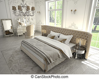 bedroom - decadent bedroom in a classic room, 3D RENDERING