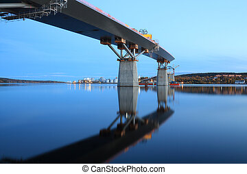 bridge mirrrored in the water - Nightfall, bridge...