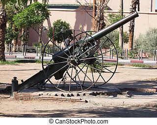 old cannon monument in Marrakesh
