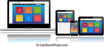 Website template on multiple devices - Responsive website...
