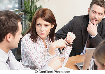 Group of business people working on project - Group of...