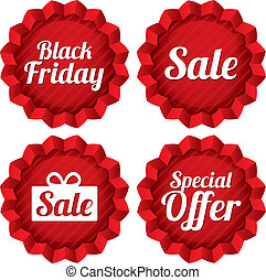 Colorful black friday, sale, special offer labels set Red...