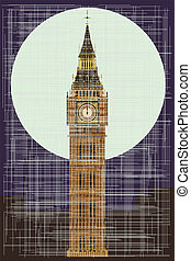 Grungy Ben - A grunge version of thehe London landmark Big...