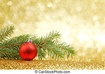 New year card with natural fir branch and ball