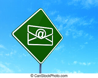 Business concept: Email on road sign background