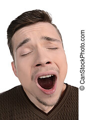 hombres, bostezando, retrato, aburrido, hombres, bostezando,...