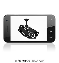 Security concept: Cctv Camera on smartphone - Security...