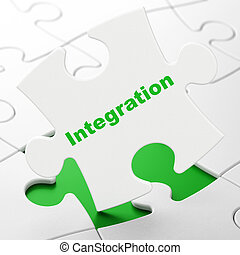 Finance concept: Integration on puzzle background - Finance...