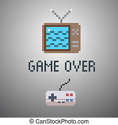 game over, old school 8 bit game poster