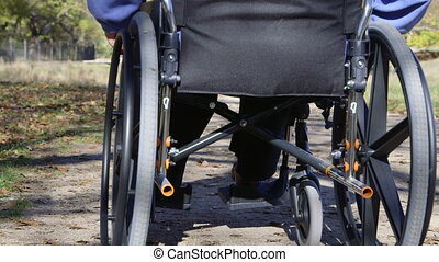 Disabled person in wheelchair - Disabled senior woman in...