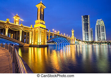 Scenic Bridge at night in Putrajaya, Malaysia