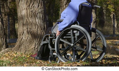 Disabled senior woman on wheelchair