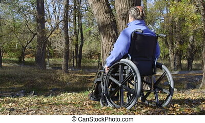 Elderly disabled woman in a wheelchair resting outdoors