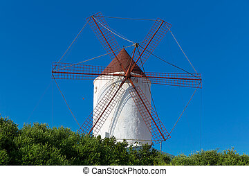 Menorca Es Mercadal windmill on blue sky at Balearics -...