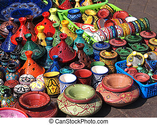 clay pots - tajines and pots made of clay on market in...