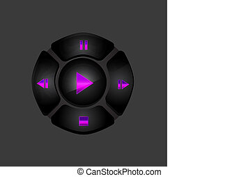 Black media player buttons
