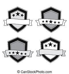 Vector retro black and white shields