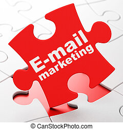 Advertising concept: E-mail Marketing on puzzle background