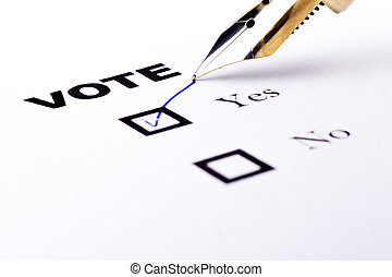 Vote Yes - Voting yes or no checkbox with fountain pen yes...