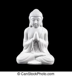 White Buddha Statuette - White, porcelain statuette of...