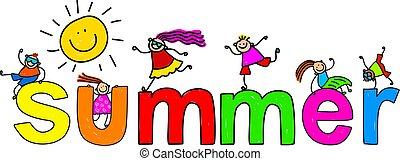 summer - Summer text message with little kids climbing over...