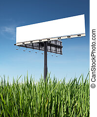 billboard - blank billboard on grass with blue sky