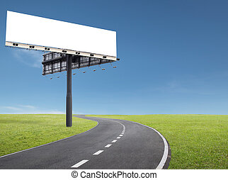 billboard by the roadside - blank billboard at roadside of a...