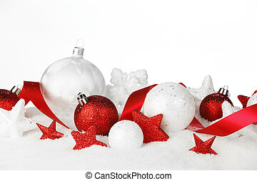 Christmas card with white and red decoration