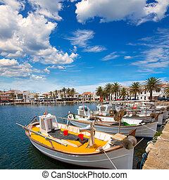 Fornells Port in Menorca marina boats Balearic islands of...