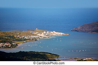 Menorca Fornells aerial view from Pico del Toro in Balearic...