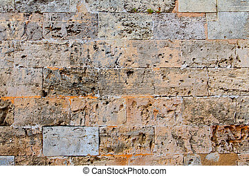 Menorca castle stonewall ashlar masonry wall texture antique...
