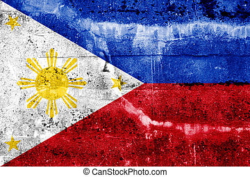 Philippines Flag painted on grunge wall