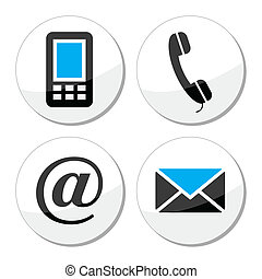 Contact web and internet icons - Round black and blue labels...