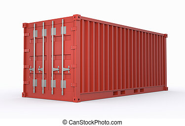 freight container - one freight container red colored (3d...