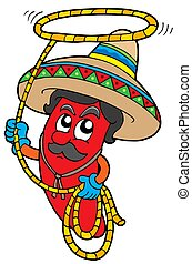 Cartoon Mexican chilli with lasso - isolated illustration.