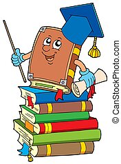 Book teacher on pile of books - isolated illustration