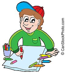 Boy with crayons - isolated illustration.