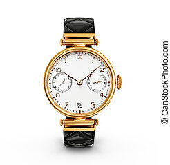 watch - gold watch isolated on a white background