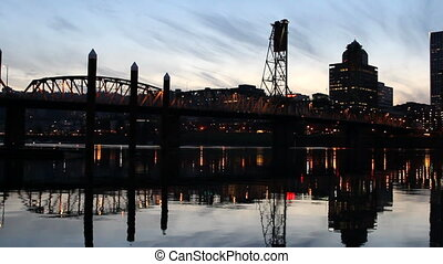 Portland OR Cityscape at Blue Hour